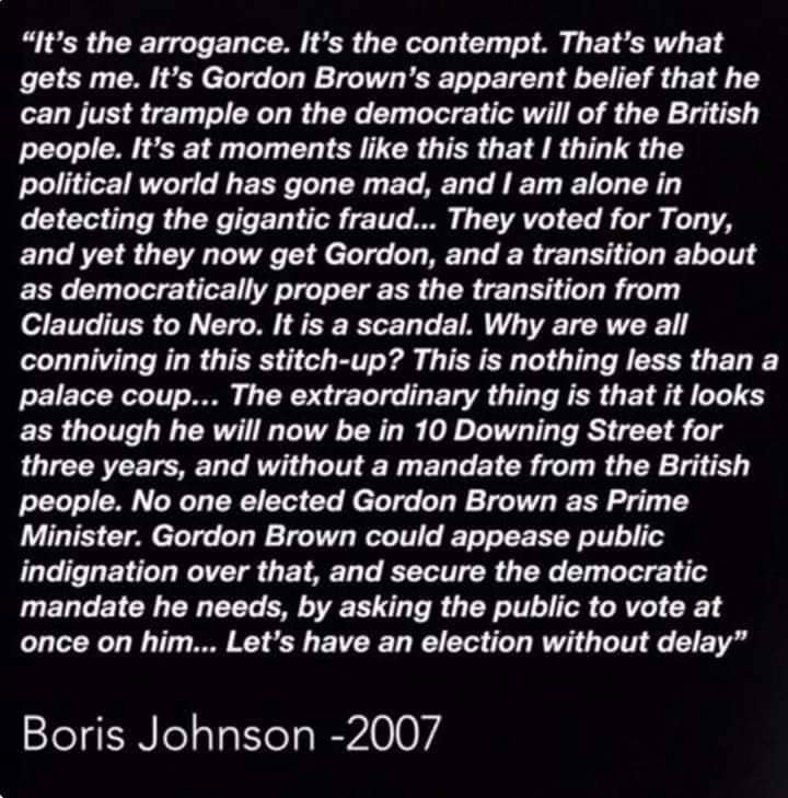 .@BorisJohnson on Gordon Brown becoming PM in 2007 without winning an election himself. Read the full column here, and make of it what you will: telegraph.co.uk/comment/person…
