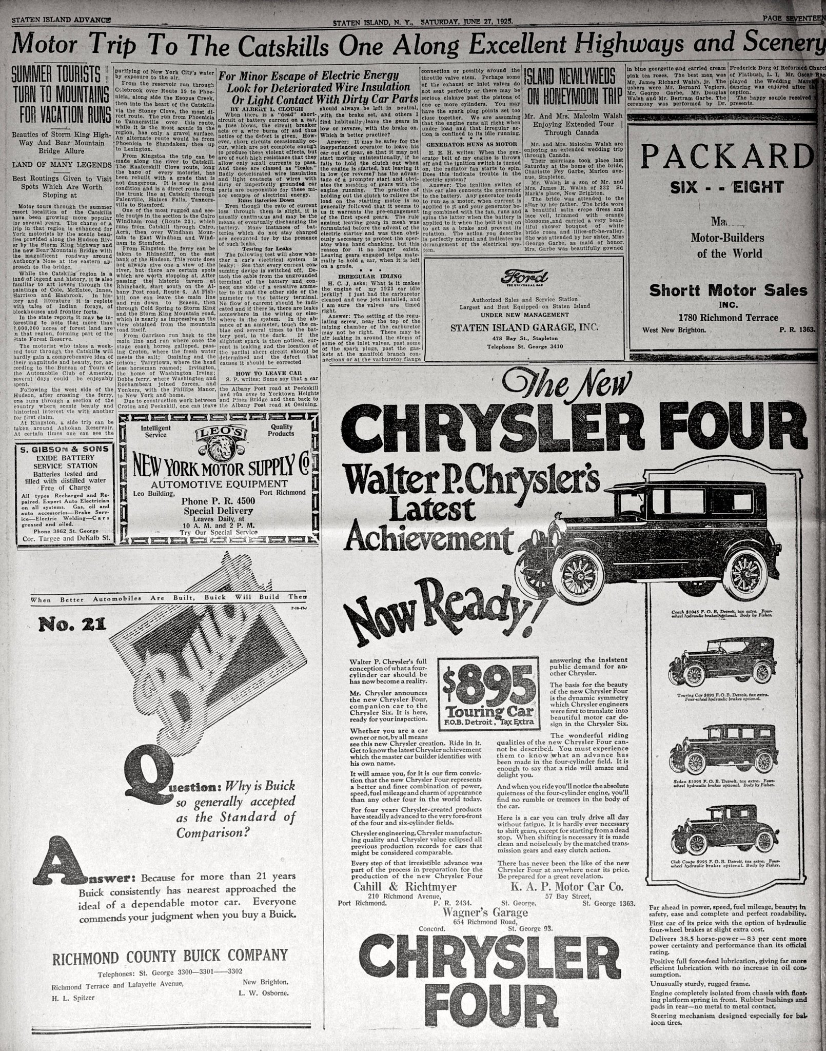 Advance historic page from June 27, 1925: The new Chrysler Four