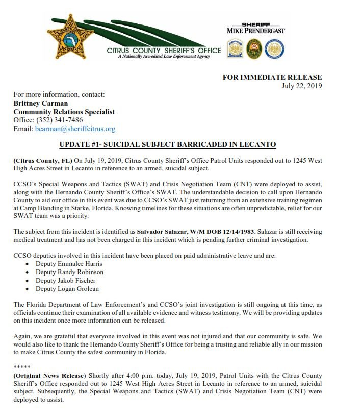 Citrus County Sheriff Breaking News