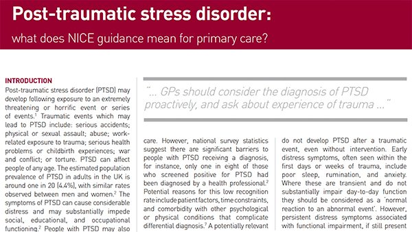 'A key way in which the GP can help people with PTSD to recover is to have the diagnosis in mind and identify those whose distress symptoms are persistent … and associated with functional impairment.' Specialist care may include trauma-focused CBT or EMDR http://ow.ly/kzWX30p422n