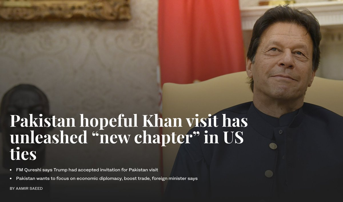 """#Pakistani Foreign Minister #ShahMahmoodQureshi said on Tuesday a """"new chapter"""" had been opened in ties between the #UnitedStates and #Pakistan a day after #US President #DonaldTrump welcomed Pakistani premier #ImranKhan to the #WhiteHouse http://ow.ly/IH4r50v8YgN"""