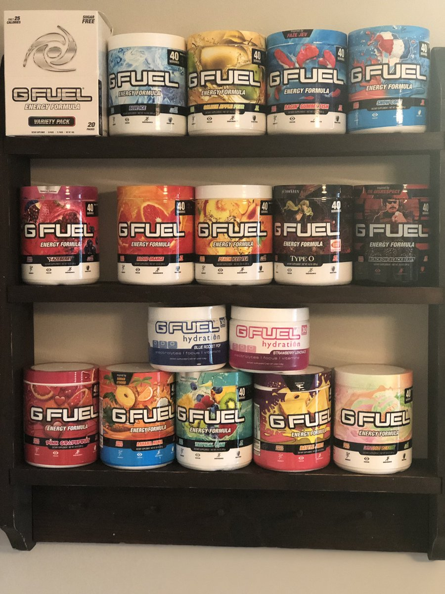 Saving 30% by using code CBAD is ALMOST GONE! Make sure you stock up on your favorite flavors today!  Need a recommendation? Check out the CBADs Wall of GFUEL! All of these flavors are an INSTANT purchase in this household 🔥   https://gfuel.ly/2VwcznA #ad