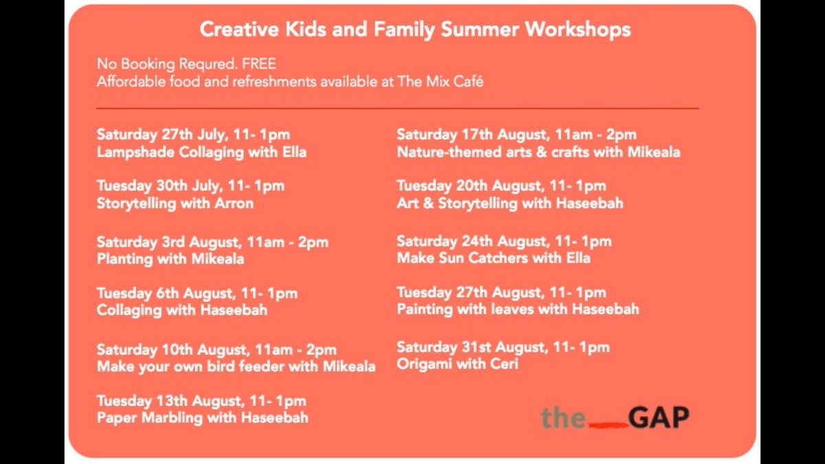 FREE Creative and Family workshops over the summer! 🎨📚🌱🌍 See more details here: thegapartsproject.co.uk/summer-worksho…