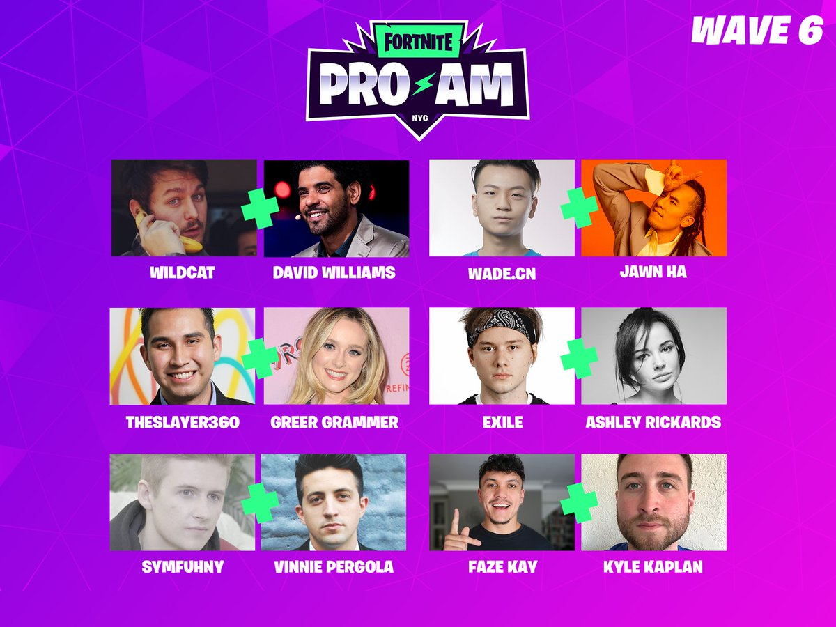 It'll be intense at the #FortniteWorldCup Finals Celebrity Pro-Am, tune in at 4:00PM ET July 26th: https://t.co/3tLbPZtqwQ  @I_AM_WILDCAT + @dwpoker https://t.co/Q308WflQ1W + @JawnHa @Theslayer360 + @Greer_Grammer Exile + @AshleyRickards @Symfuhny + @phantoms @FaZeKay + @phantoms https://t.co/Z8w6y91Pq8