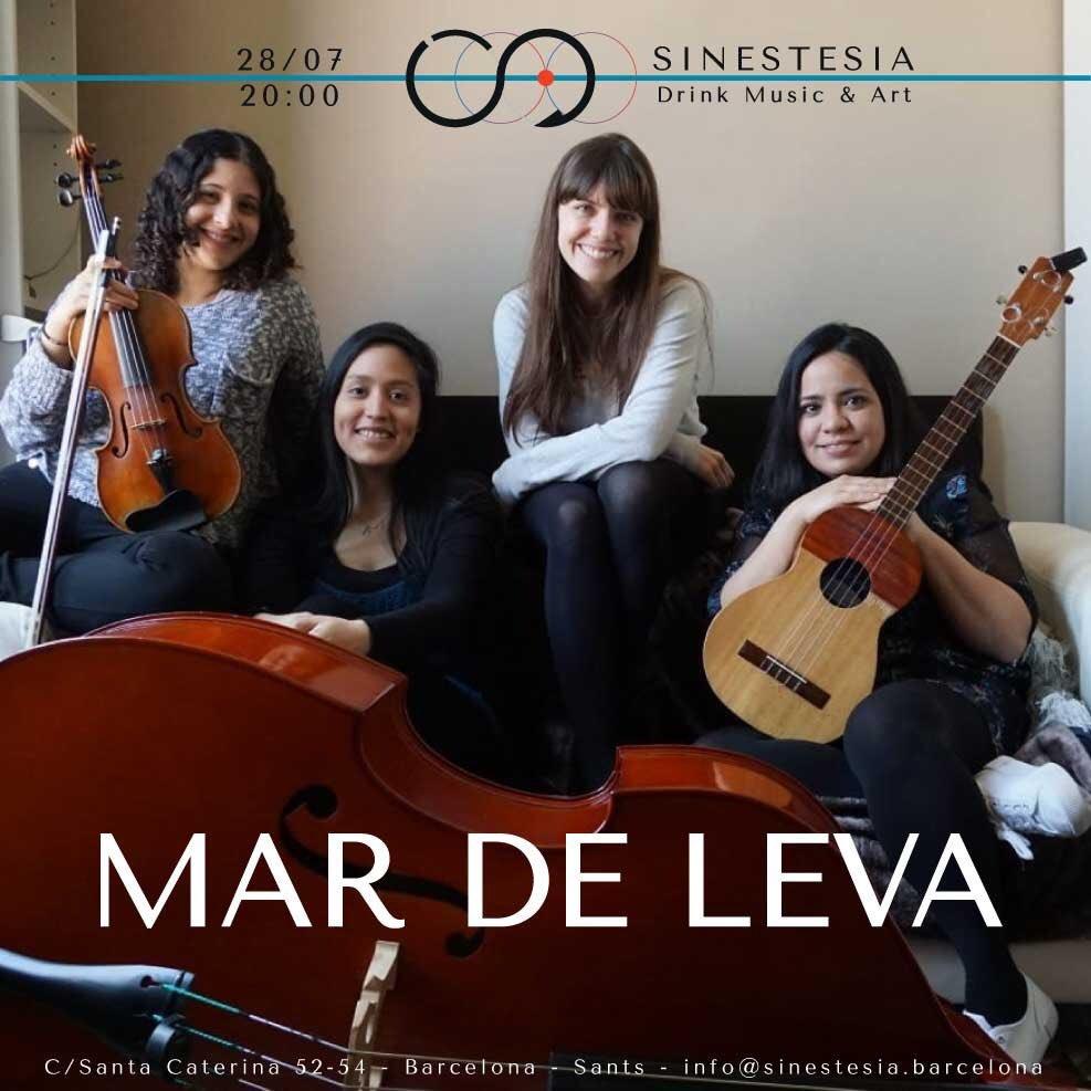 DOMINGO 28/07 - 20 h - MAR DE LEVA  Mar de Leva es una formación de músicas venezolana https://sinestesia.barcelona/event/mar-de-leva/… #CuatroVenezolano #MusicaLatinoamericana #Sinestesia #DrinkMusicArt #Barcelona #musica #arte #livemusic #night #live #Sants #SantsEstació #PlaçaDelCentre #PlaçaDeSants