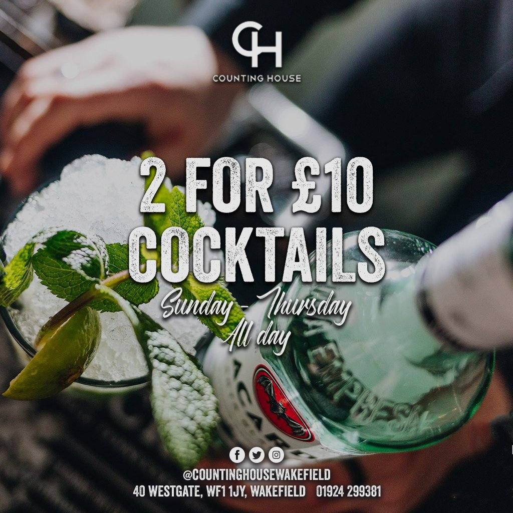 Do you have a day off? Or maybe you just have that feeling🤩  Either way bring a friend down to Counting house and enjoy our cocktails!  #CountingHouse #Bar #Food #Wakefield #Drinks #Gin #Spirits #Whiskey #Vodka #SkySports