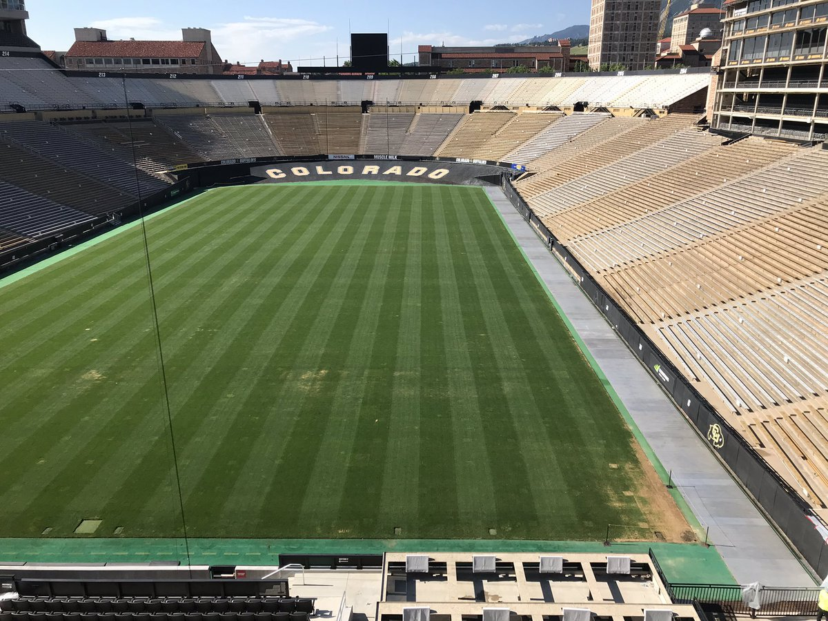 "Pics of Folsom recovery from 7/17 and today, 15 days post @deadandcompany.  Continuing to make progress, finally got a break from the 90's this weekend and Mother Nature dropped 0.62"" of sweet nectar from the sky. #GoBuffs #Team1stClass #RELENTLESS @FieldExperts @CSTMA_TURF"