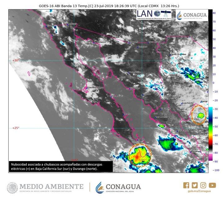 ⭕🌧️Se registran #Chubascos ☔️ con #DescargasEléctricas ⚡️ al sur de #BajaCaliforniaSur y el norte de #Durango. Estén atentos a las recomendaciones de Protección Civil en cada entidad @conagua_clima