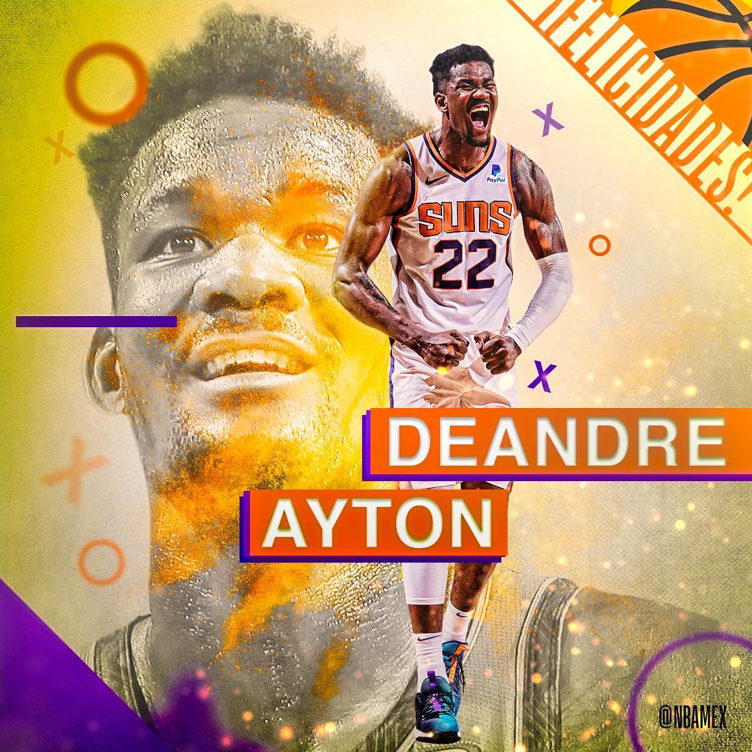 ¡Hoy celebramos el cumpleaños de @DeandreAyton! 🎂  El que fuera la primera selección global del Draft de 2018 cumple 2️⃣1️⃣ años. 🎉  ¡Felicidades! 🎊 #NBABDay