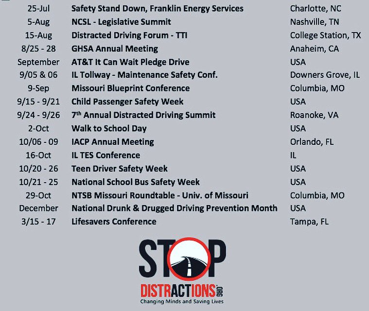 It's going to be a busy fall! Let's keep talking about the dangers of distraction & work together to end these tragedies. Let us know if you need a speaker & help us #stopdistractions #distracteddriving #howmanymore  #joinus #shareyourstory #drivesafe