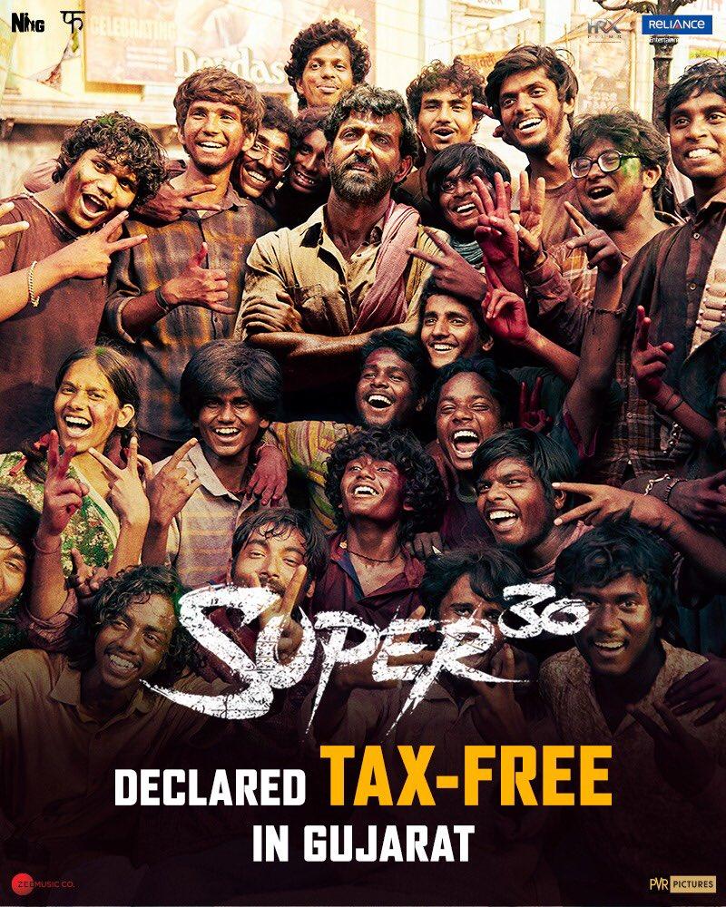 After Bihar, Rajasthan, Uttar Pradesh now Gujarat gives #TaxFree to #Super30 ... way to go...more to follow !  @iHrithik @mrunal0801 @nandishsandhu @TheAmitSadh  @TripathiiPankaj  @AdiiSrivastav  @virendrasaxena  @RelianceEnt @Shibasishsarkar @WardaNadiadwala