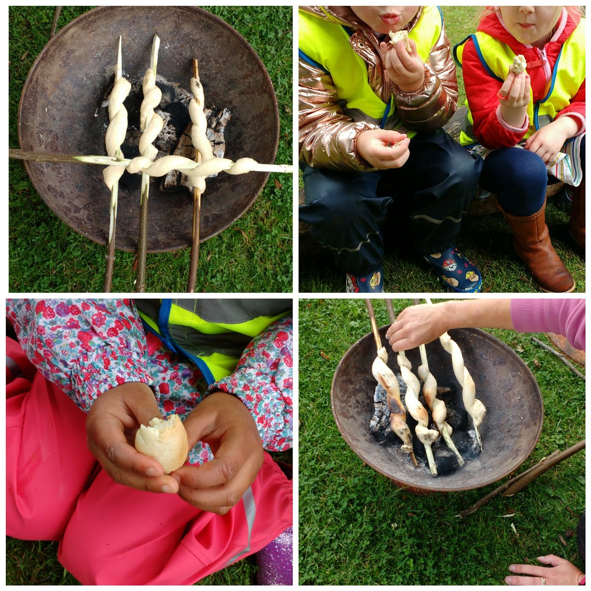 The children baked (and ate!) scrummy fresh bread during our last Forest School session of the year 😀😋 what a wonderful way to end the year. #happykids #forestschool #outdoorlearning #experiences #agoodplacetobe
