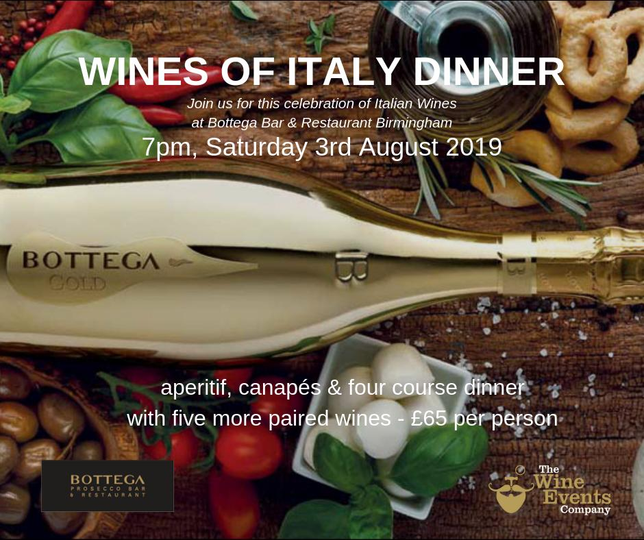 Wines of Italy Dinner - Saturday 3rd August at @BottegaBirming1. Aperitif, canapés, 4 course dinner & five more wines for £65, hosted by @TonyElv. Fabulous Italian food paired with great wines. Book here: http://bit.ly/2LQ5z3K   #Wine #WineDinner #Italy #Birmingham