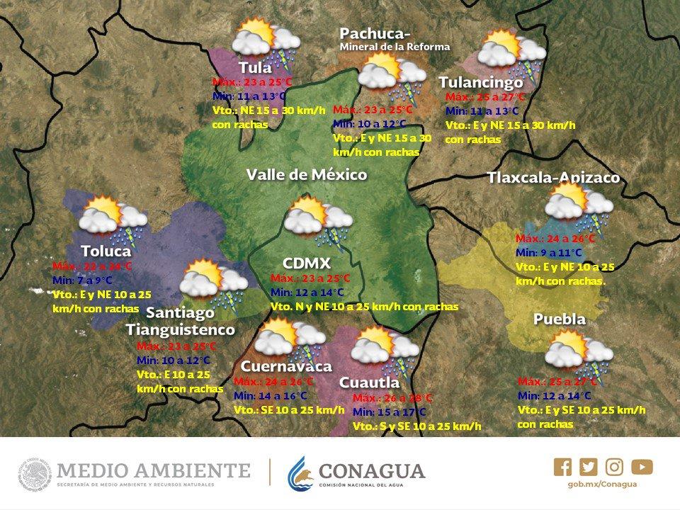 ⭕🌧️#Chubascos con posibilidad de #Lluvias fuertes ☔️🌧️ se pronostican para los siguientes tres días en el #ValleDeMéxico. Más información en el #Pronóstico a 72 horas para la región @conagua_clima