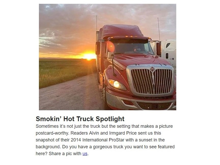 This #SmokinHotTruck's beautiful back-lighting is courtesy of the lovely sunset.  This 2014 @IntnlTrucks #ProStar belongs to our friends Irmgard and Alvin Price (@Yoda76547).  Show us what you're driving and you might be featured next.  #Trucking #BigRigs #SemiTrucks @OOIDA