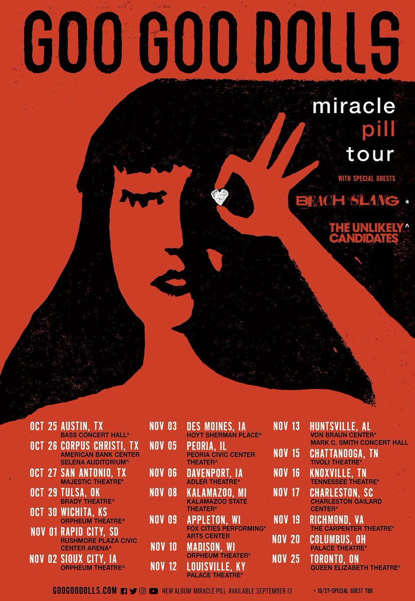 The @googoodolls are hitting the road this fall on The Miracle Pill Tour! Presales start tomorrow and the public sale starts Friday! #getreadytorock