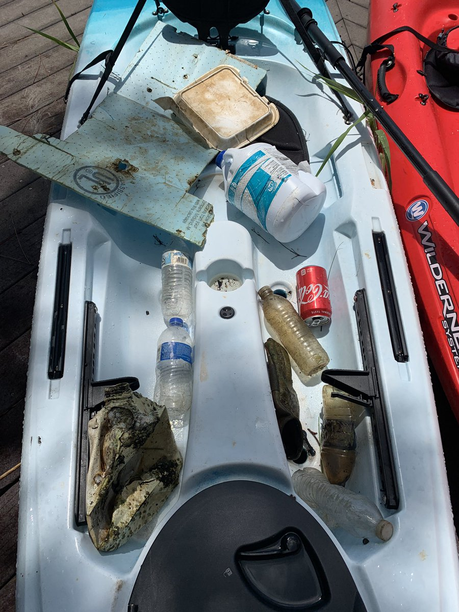 Beautiful morning #kayaking in #RockyBayou.  Saw #dolphins and #herons and #pelicans all fishing.  We did a little fishing of our own for #TrashTuesday .  There must be a palking hashtag for picking up by kayak? #trashtag #cleanourwaterways #makeadifference