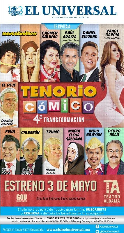 """No te pierdas este fin de semana en @ClubElUniversal una comedia ya clásica llena de risa y diversión: """"EL TENORIO CÓMICO"""" presentándose en el teatro Aldama. ¡Suscríbete o renueva ya! ¿Qué esperas para ser parte de #ElUniversal? Te decimos como: 52370800🤣http://www.clubeluniversal.mx/evento/el-tenorio-c%C3%B3mico…"""
