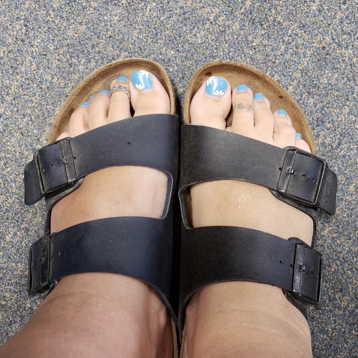 """test Twitter Media - """"So... you know you need more sleep when you get to work and realize you have two different coloured Birks on"""" ~ Eryn Hinds  No judgment from us, Eryn. Happy to see you're getting good use out of your Blue AND your Black #Birkenstock sandals! 😉  #gradyphotocontest #ptbo https://t.co/iOa0EPBjEV"""