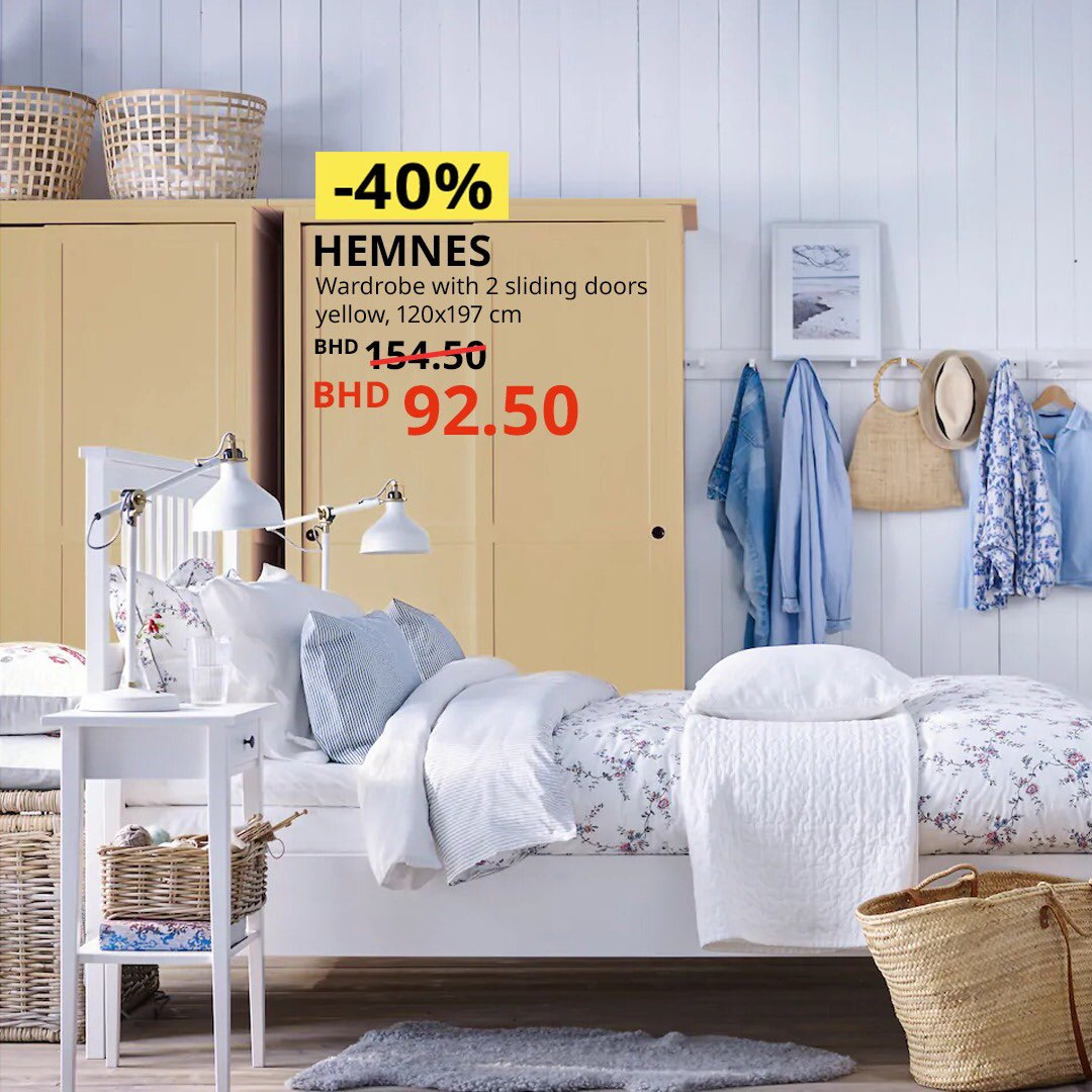 Isn't this bedroom just soothing on the eye? Who here is ready for a nap? Enjoy a 40-80% discount and a chance to win one of 5 room makeovers. Visit us now #IKEA #IKEA_Bahrain #Offer #Offers #Discount #Sale #Bedroom #Wardrobe #Table  http://bit.ly/2J4PDaM
