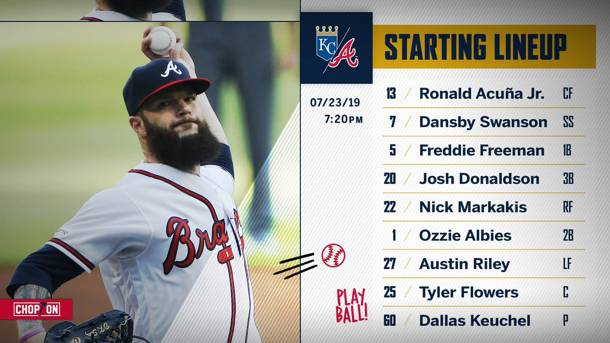 Here's how the #Braves will line up tonight vs. the Royals!#ChopOn
