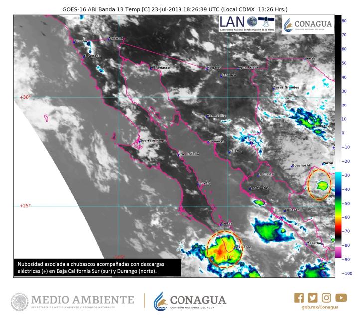 Se registran #Chubascos ☔️ con #DescargasEléctricas ⚡️ al sur de #BajaCaliforniaSur y el norte de #Durango. Estén atentos a las recomendaciones de Protección Civil en cada entidad