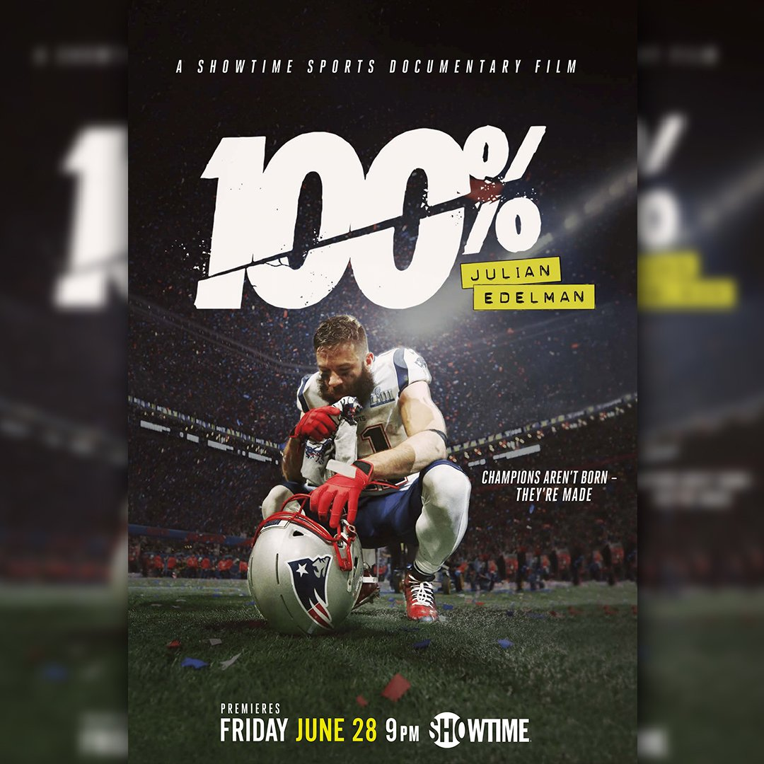 Seen 100%: Julian Edelman yet? Follow @_CoastPro + reply to this tweet w/your movie review in 3️⃣emojis for a chance to win a SIGNED poster🔥 #Edelman100