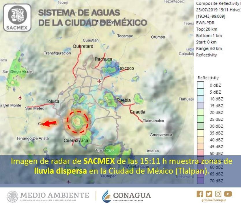 Imágenes de radar muestran zonas de #Lluvia con #Chubascos 🌧️ en el centro y poniente de #Morelos, sur y oriente de #Hidalgo, poniente del #EdoMéx y lluvias dispersas en la #CDMX.Vía: @conagua_clima.