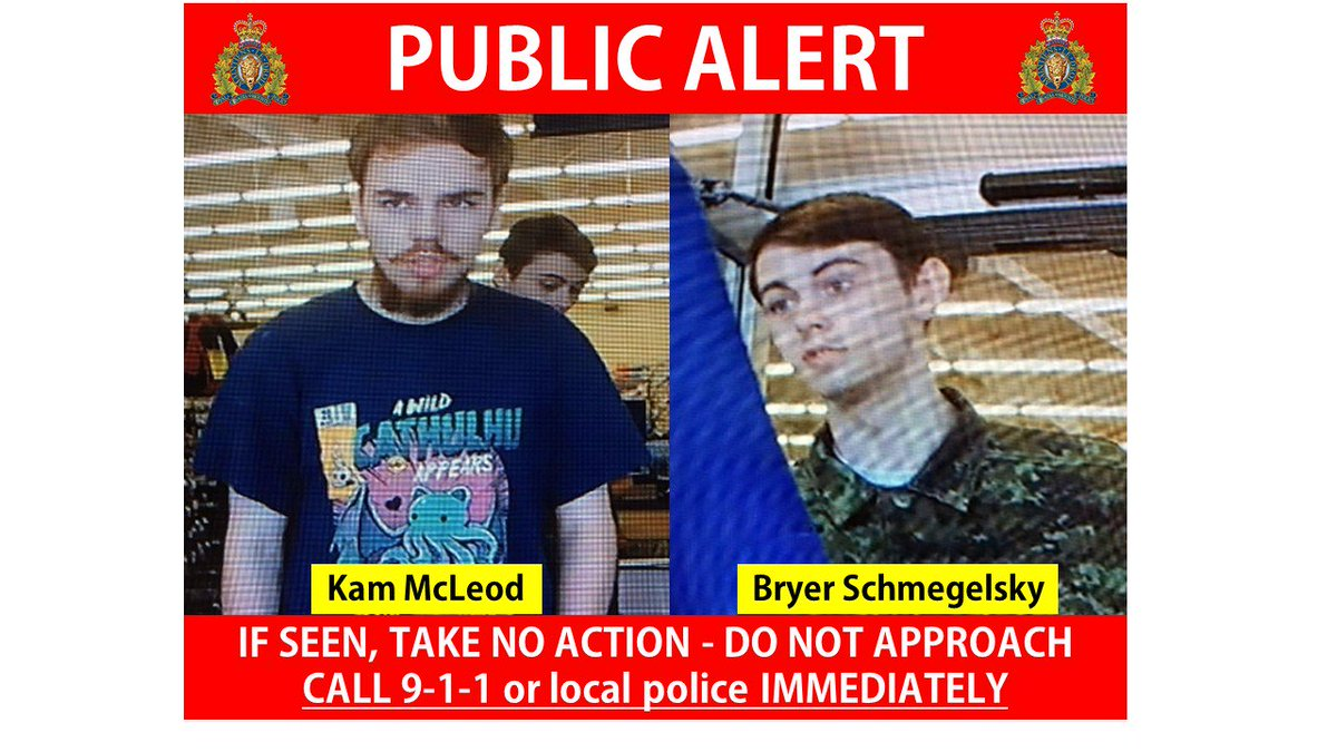 PUBLIC SAFETY - Kam McLeod and Bryer Schmegelsky MAY be in Manitoba and are considered dangerous. We have reasons to believe they were recently in the Gillam area. If you spot them - take no actions – do not approach – call 911 or your local police immediately. #rcmpmb