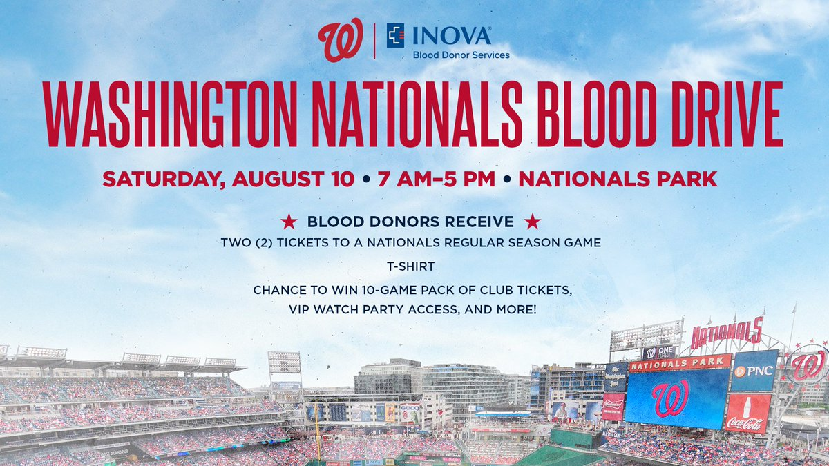 Get a pair of tickets and an exclusive T-shirt when you donate blood at #Nats Park!🔗 // http://Nationals.com/DonateBlood