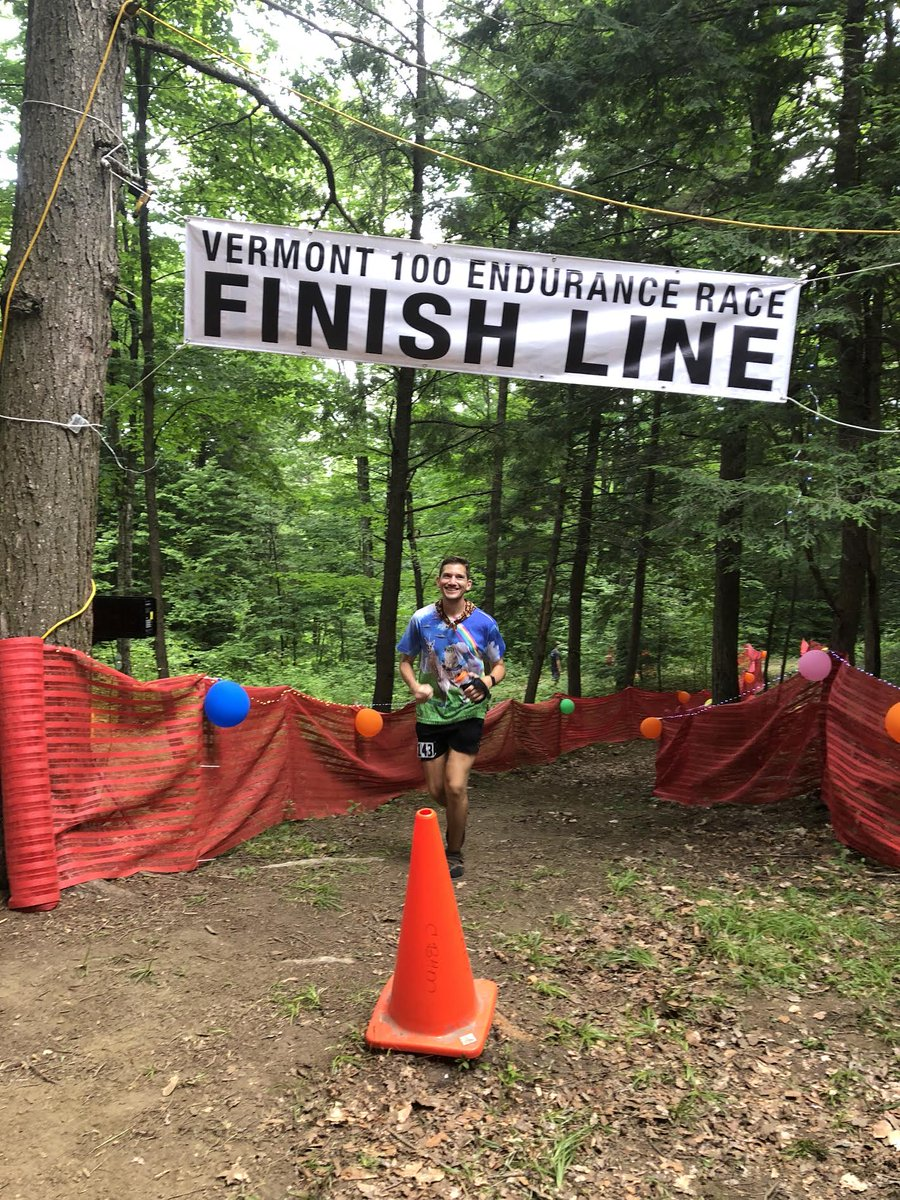 At the finish line of #Vermont100 on Sunday morning. So happy to finish. I still can barely walk but I'm already dying to get back out on the trails... #ultrachat