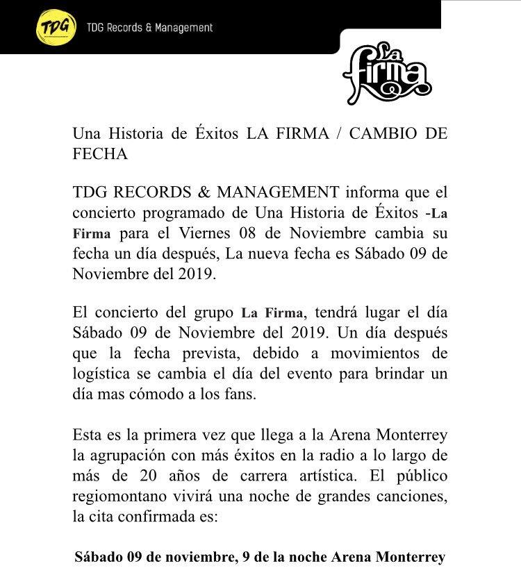 Comunicado oficial por el cambio de fecha (Arena Monterrey) 👍  En nuestro Facebook (La Firma Oficial) se encuentra el texto íntegro. Sabemos que es complicado leerlo aquí en Twitter.  De antemano, gracias 🙏 #LaFirma https://t.co/bL4MvNg8Tj