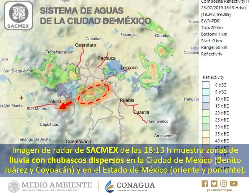 En la imagen de radar se puede observar nubosidad que origina #Lluvias con #Chubascos 🌧️en las alcaldías Benito Juárez y Coyoacán, #CDMX, y en el oriente y poniente del #EdoMéx. Más información en https://smn.conagua.gob.mx/es/pronosticos/avisos/aviso-de-potencial-de-tormentas-en-el-valle-de-mexico…