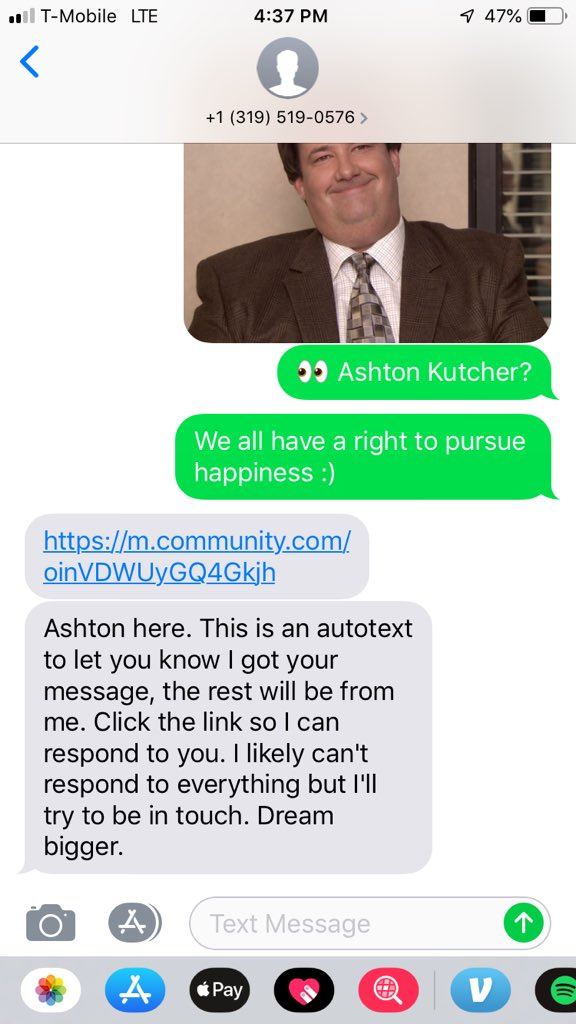 Ashton Kutcher op Whatsapp