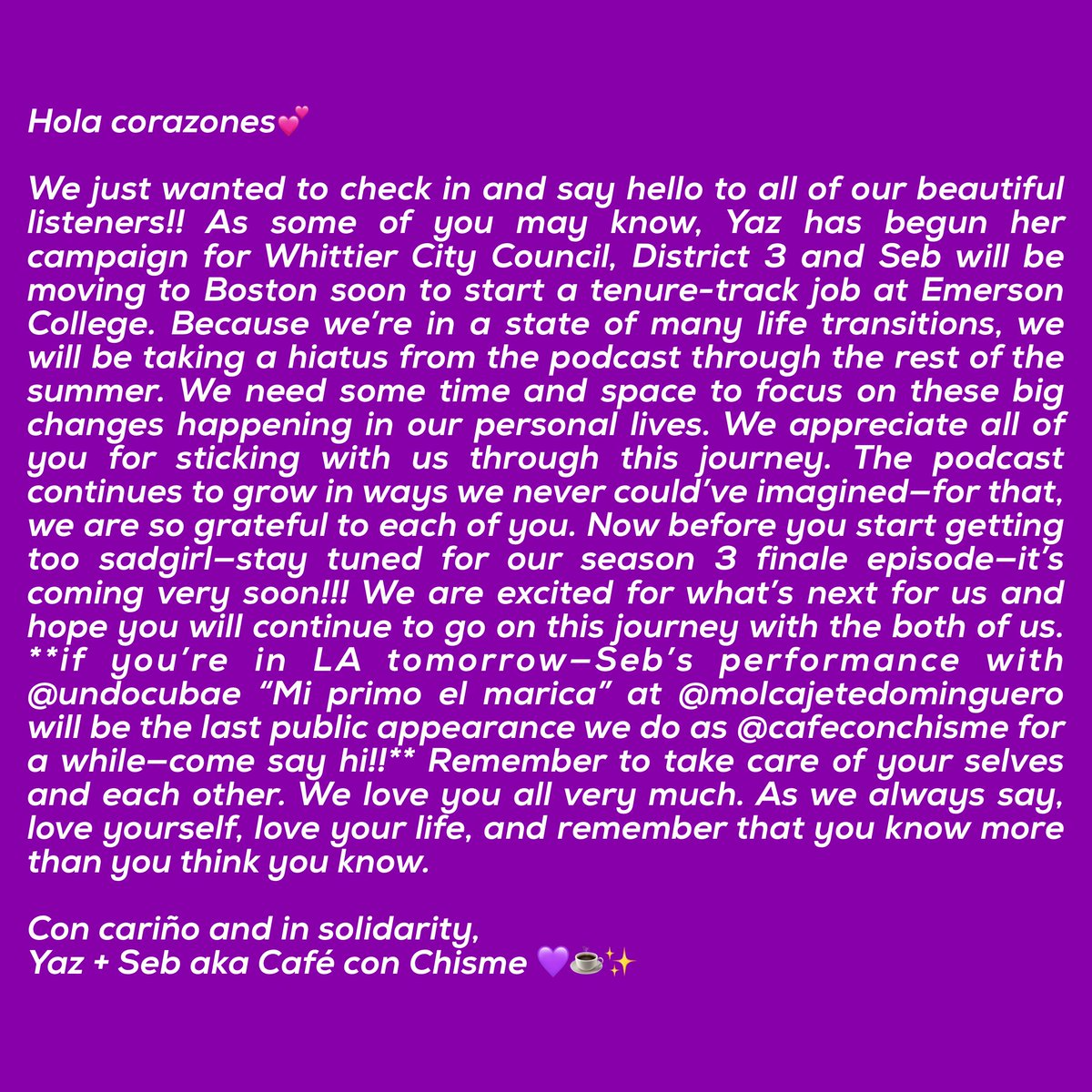 a message for our beautiful listeners💜☕️✨