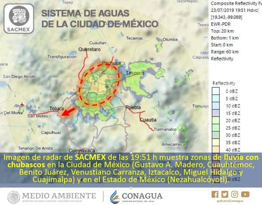 Imagen de radar muestra nubosidad asociada a #Lluvias con #Chubascos 🌧️ en las alcaldías Gustavo A. Madero, Cuauhtémoc, Benito Juárez, Venustiano Carranza, Iztacalco, Miguel Hidalgo y Cuajimalpa en la #CDMX, y en el municipio de Nezahualcóyotl, #EdoMéx ¡Toma tus precauciones! ☂️