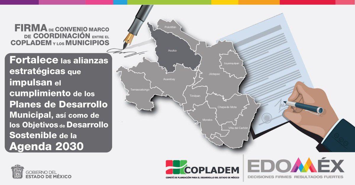 Con la Firma del Convenio Marco de Coordinación COPLADEM-Municipios con sede en @AculcoOficial, fortalecemos la gobernanza democrática a través de  alianzas para el desarrollo que velan por el cumplimiento de la planeación local. Gracias a los municipios que participan. #Edomex