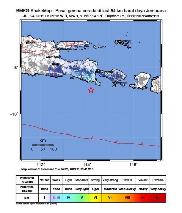 Pusat Gempa di Jembrana, Bali, Rabu (24/7/2019)