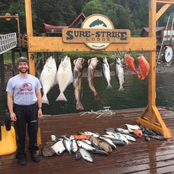 Nothin' But (fish) Guts Spreading the good word of Denver's Best Sports Talk (@AltitudeSR) in Craig, Alaska. @Avalanche #GoAvsGo https://t.co/oi7ywCcAb9