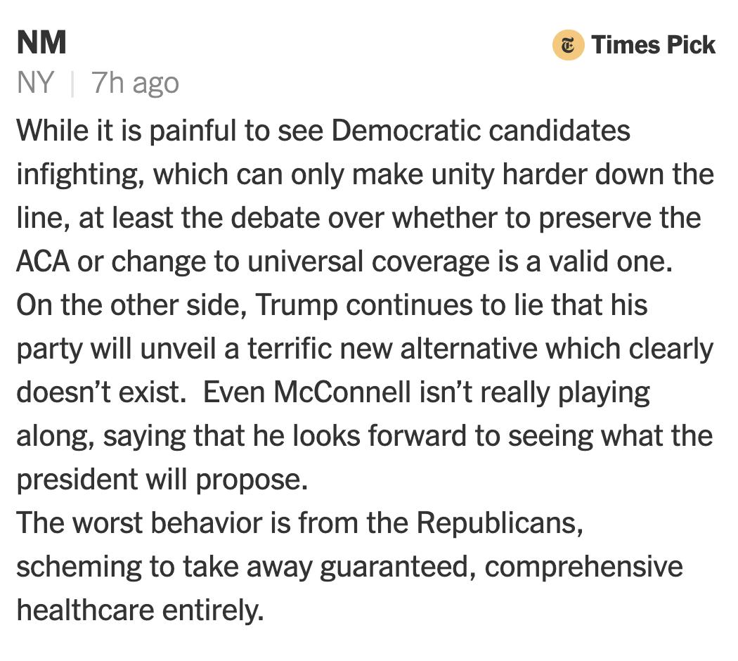 """While it's painful to see Democratic candidates infighting... at least the debate over whether to preserve the ACA or change to universal coverage is a valid one,"" writes NM in a comment on @PaulKrugman's column, ""Biden and Sanders, Behaving Badly."" https://nyti.ms/32HR6wN"