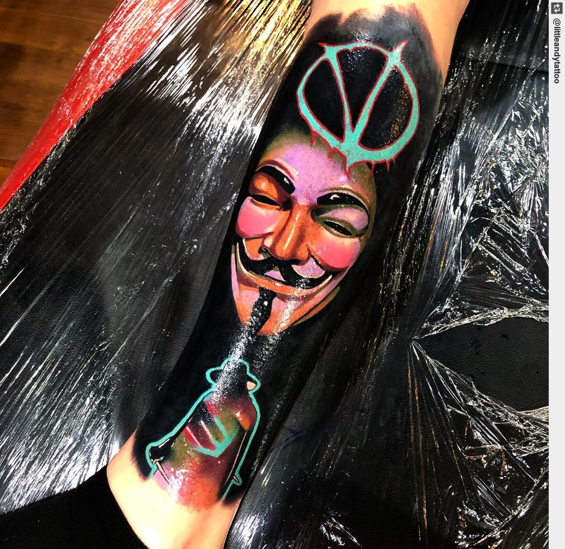 #vforvendetta Done with & #electricink #tattooed #tattooist #tattoo #inked #ink #tattooart #tattoos #tattoodesign