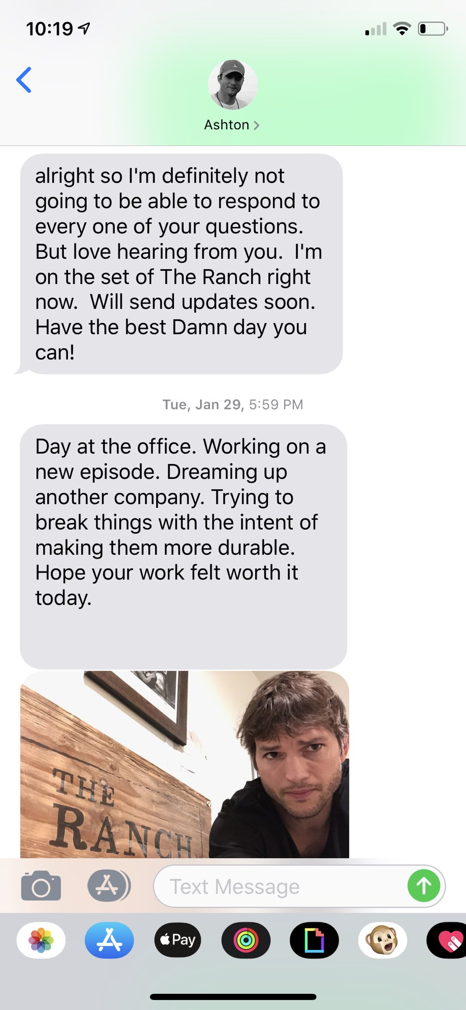 Ashton Kutcher op Whatsapp
