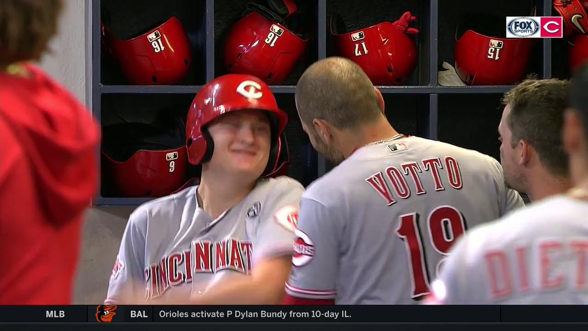 Joey Votto + the Bat Boy is an iconic duo! #Reds #BornToBaseball