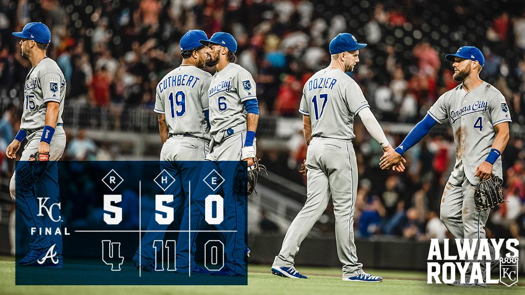 RECAP: Timely homers from Gordon and Duda plus a strong start from Duffy push #Royals past Atlanta. #AlwaysRoyal 🔗https://atmlb.com/30Qo1gJ
