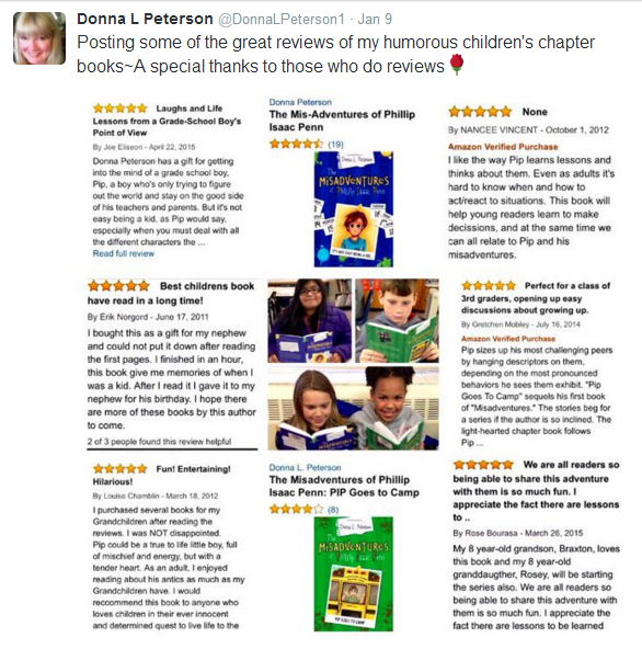 RT JoeEliseon The reviews are in! Kids love #author DonnaLPeterson1's  THE MISADVENTURES OF PIP http://www.amazon.com/The-Mis-Adventures-Phillip-Isaac-Penn/dp/1599558939/… and  PIP GOES TO CAMP http://www.amazon.com/Misadventures-Phillip-Isaac-Penn-Goes/dp/1462110770/… Humorous stories to boost your child's self-confidence.  #childrensbooks