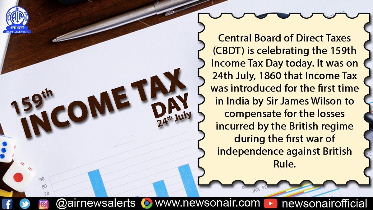 Central Board of Direct Taxes celebrates 159th #IncomeTaxDay today. <br>http://pic.twitter.com/KM7AlKcGKf