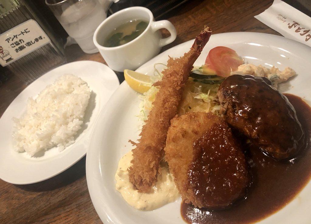 Aセット(910円・スープご飯お代わり無料)@大阪駅前/ぶどう亭 ハンバーグとコロッケとエビフライ、3つが同時に味わえるみんな大好きセット^^ 揚げたてだしデミソースも自家製タルタルもマカロニサラダも美味しいし、加えてお米も美味いとか非の打ち所なし^^
