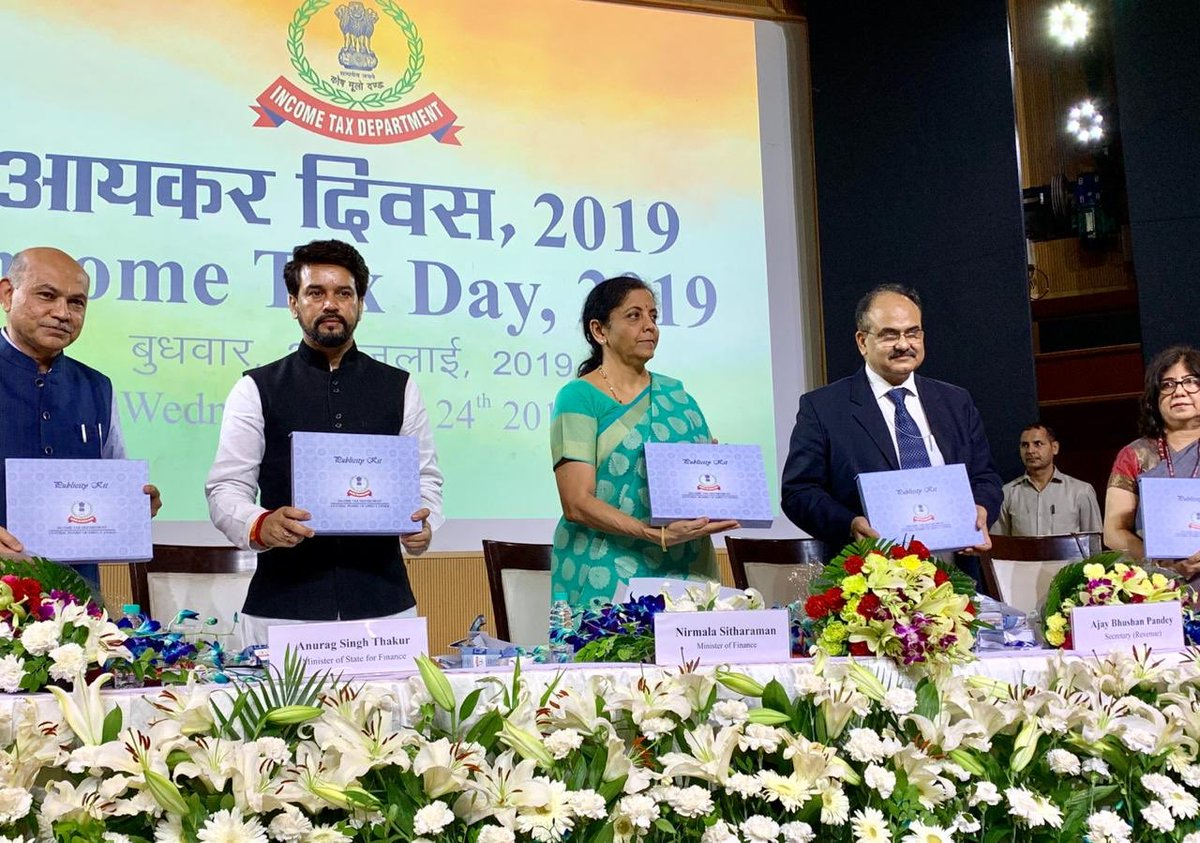 Today we marked #IncomeTaxDay in the presence of FM Smt @nsitharaman ji & released a departmental publication 'Investigation of Accounts' & launched the e-journal 'Taxalogue'.   Honest tax payers are the foundational strength of the #NewIndia we aim to build.  | @IncomeTaxIndia |<br>http://pic.twitter.com/jcf9Kc8Urb