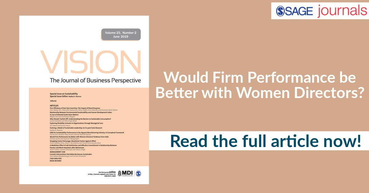 How do women directors positively impact a firm? Read the latest #SAGEIndiaDigest blog on #BreakingTheGlassCeiling and women leaders @ https://t.co/nxj21oxWm0 #Women #WomenLeaders #Organizations #Leadership #Blogs #VisionJournal https://t.co/FUz8uRQglN