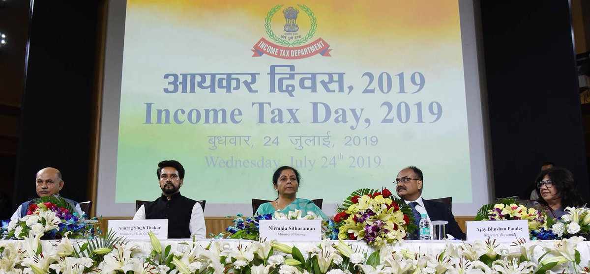 Union Minister for Finance and Corporate Affairs @nsitharaman at the #IncomeTaxDay Celebration 2019, in New Delhi <br>http://pic.twitter.com/aXKCLJNnMc